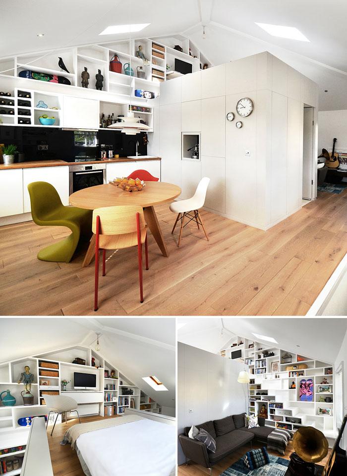 create wall from shelfs mezzanine bedroom craft design