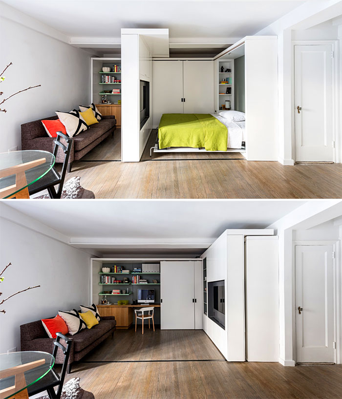 movable wall with folding wall bed for tiny apartments