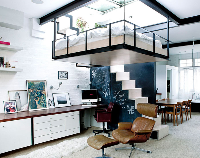 saving space with suspended bedroom
