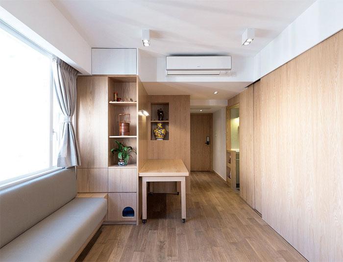 sliding wooden doors small apt decor