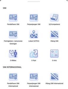 tombol-tombol aplikasi korlantas sinar online sim